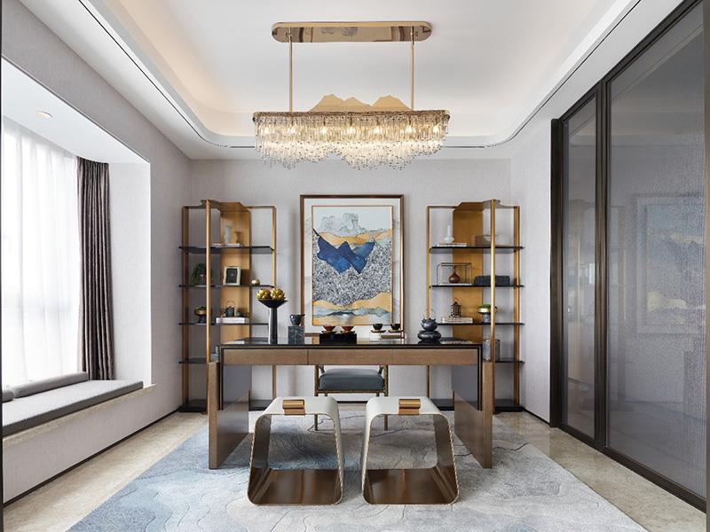 餐厅、厨房与书房三大体块,透过半通透的艺术玻璃隔断