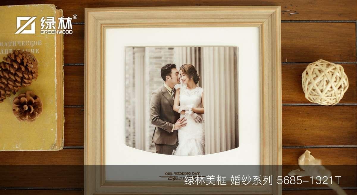 绿林婚纱PS相框线条5685-1321T应用于成品婚纱照相框效果图