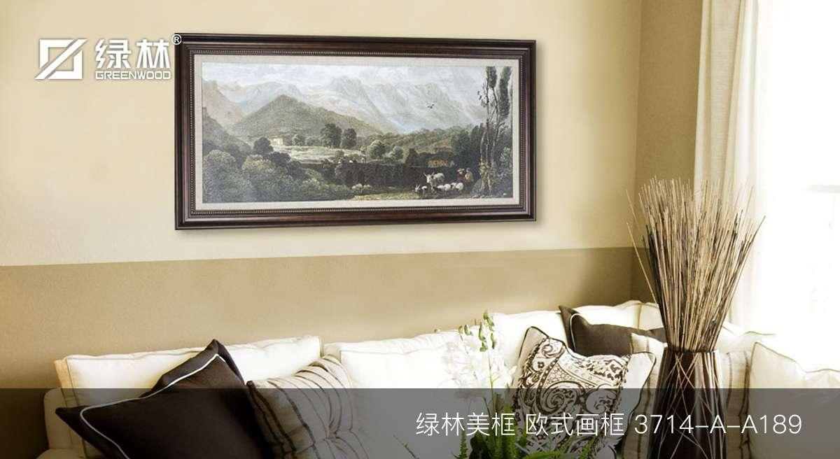 绿林PS画框线条3714-A-A189应用为欧式画框的墙面装饰效果图