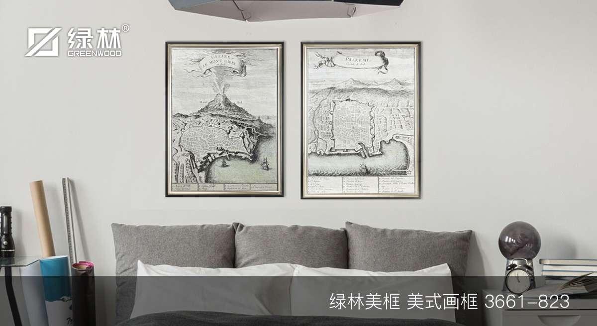 绿林PS画框线条3661-823应用为美式画框的墙面装饰效果图