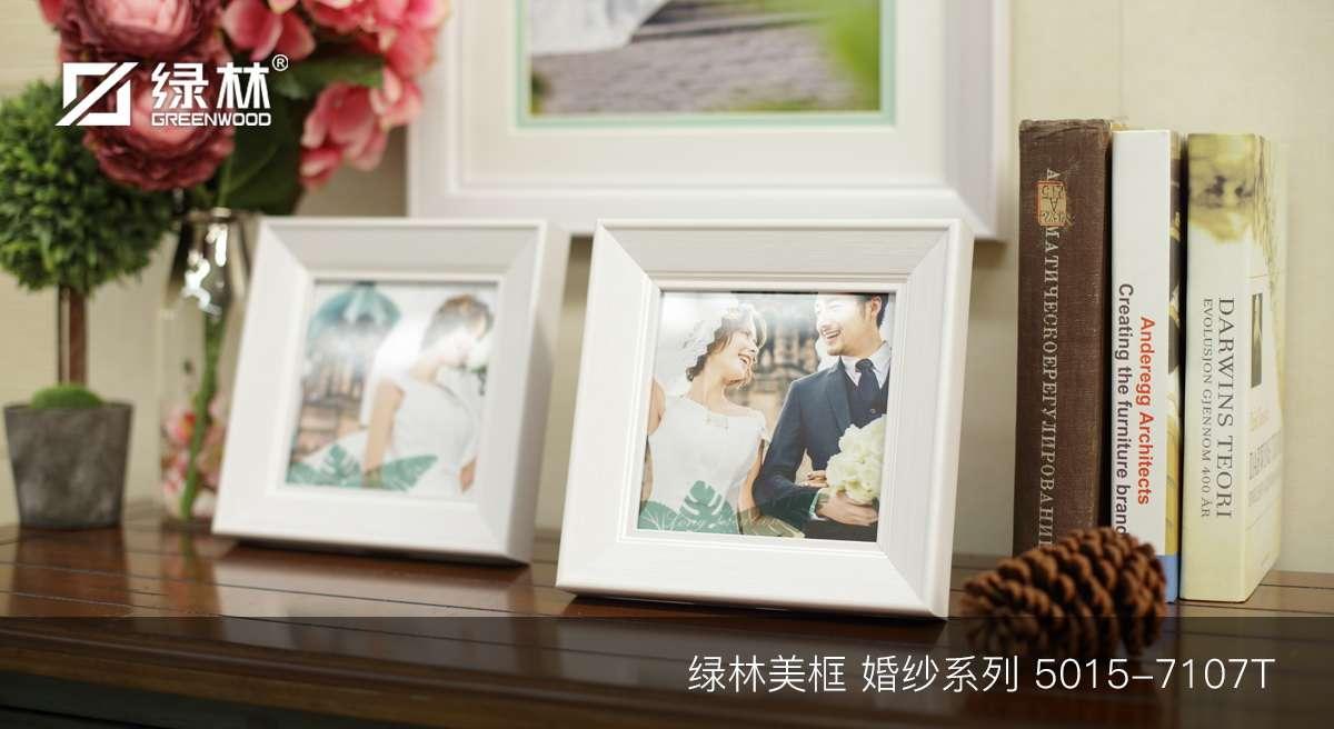 绿林婚纱PS相框线条5015-7107T应用为成品婚纱照相框效果图