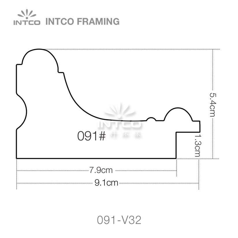 091 series PS picture frame moulding profile