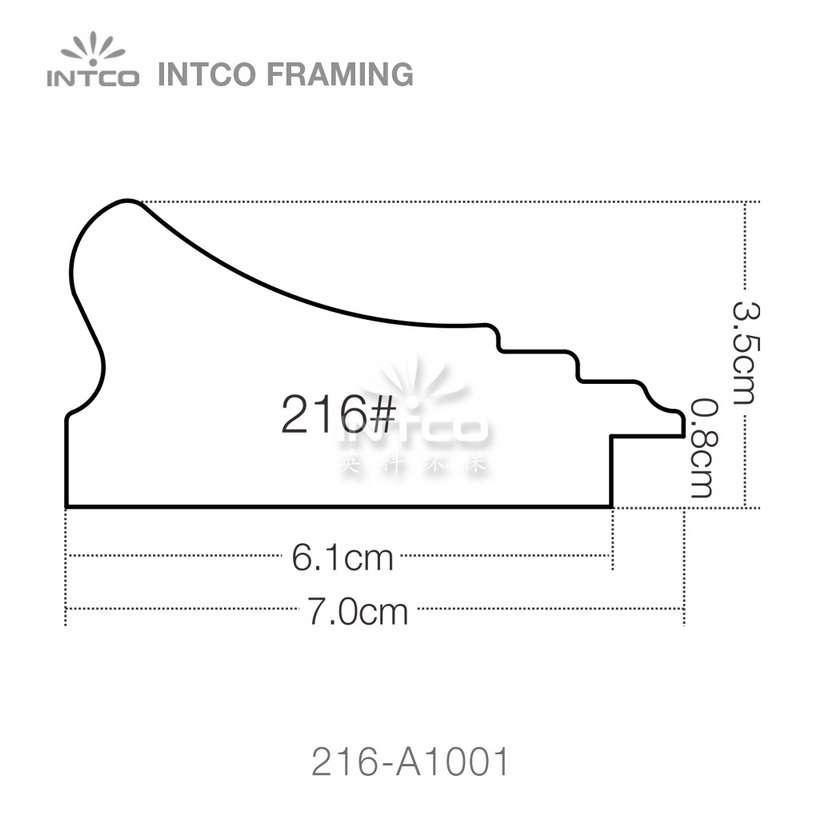216 series PS picture frame moulding profile