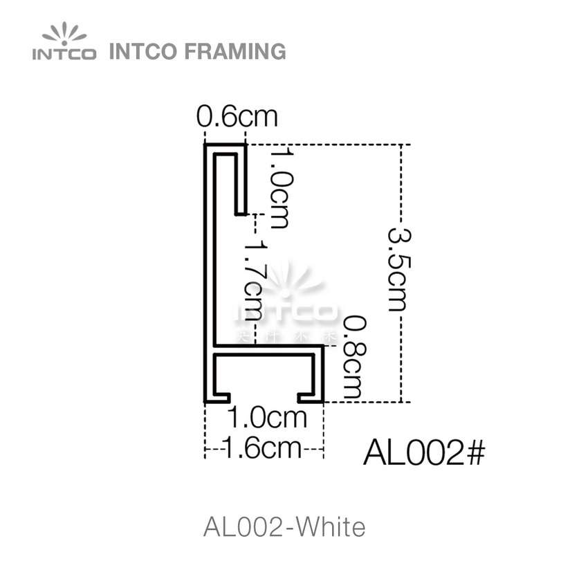 #Al002 5/8 Inch white contemporary aluminum picture frame moulding profiles