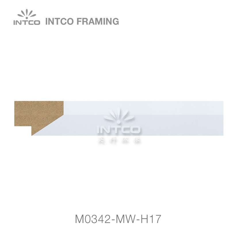 M0342-MW-H17 white MDF picture frame moulding wholesale