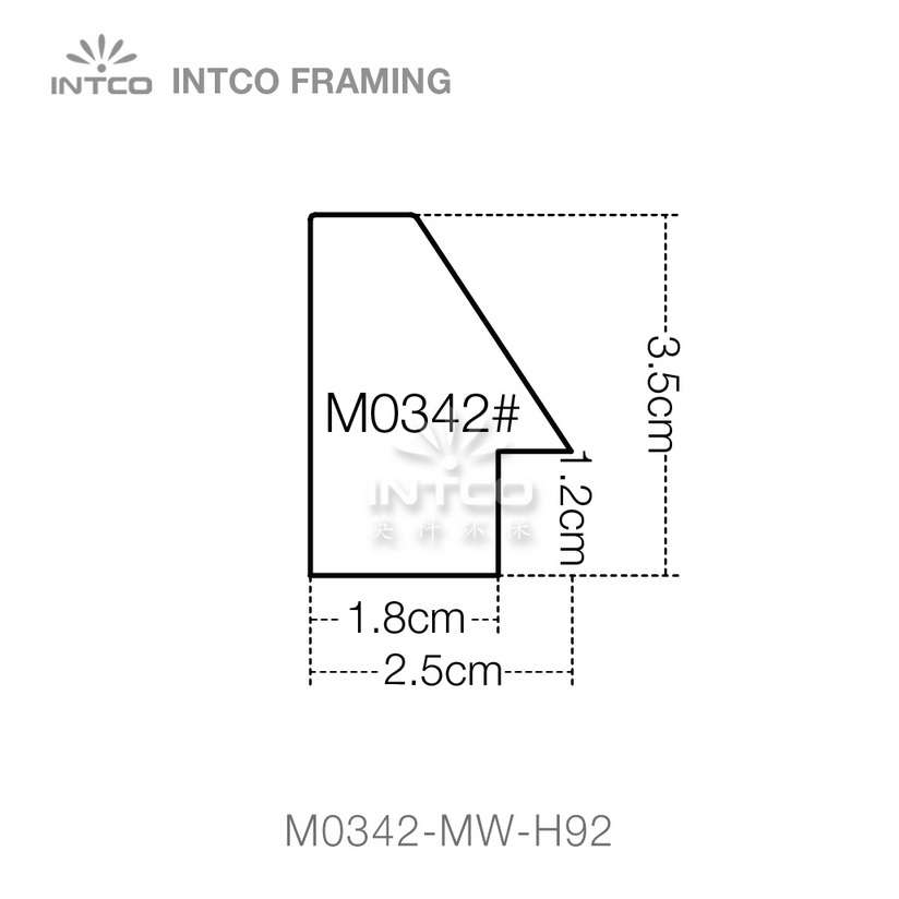 #M0342 1-3/8 Inch MDF picture frame moulding profiles
