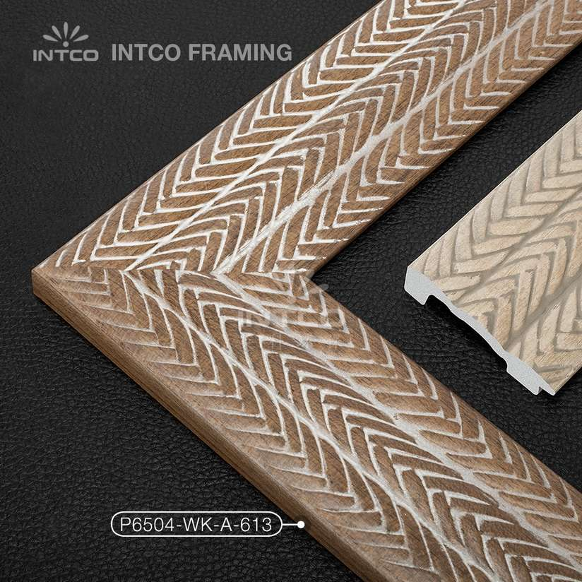 P6504-WK-A-613 PS patina mirror frame moulding dark wood finish