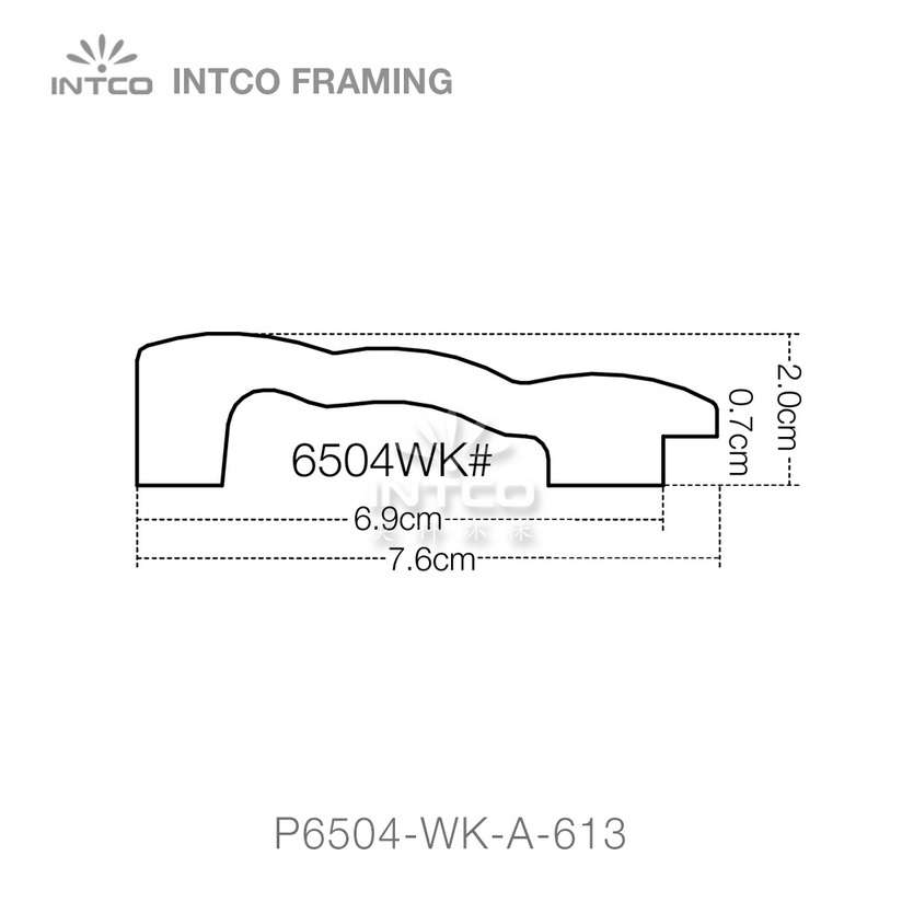 P6504-WK series PS patina mirror frame moulding profile