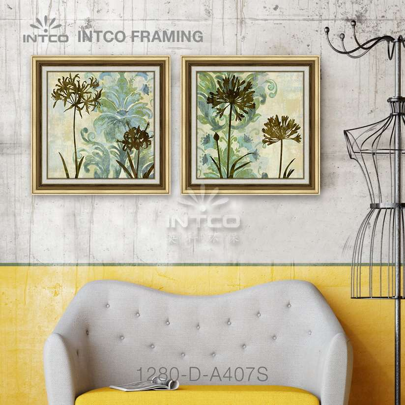 Framed wall art 80×80 cm ideas manufactured by INTCO 1280-D-A407S mouldings