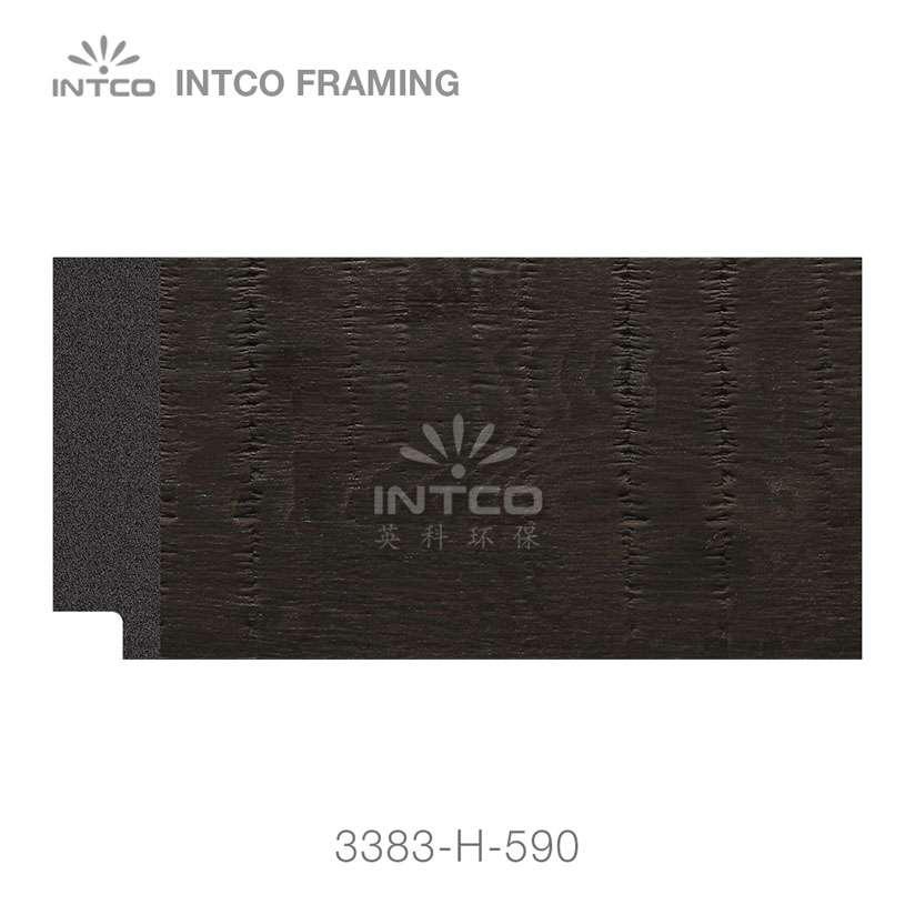 3383-H-590 PS mirror frame moulding dark wood grain