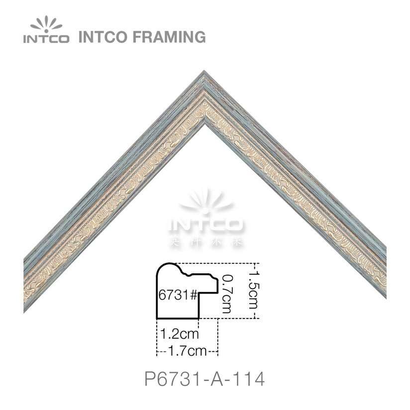 P6731-A-114 PS patina photo frame moulding corner sample