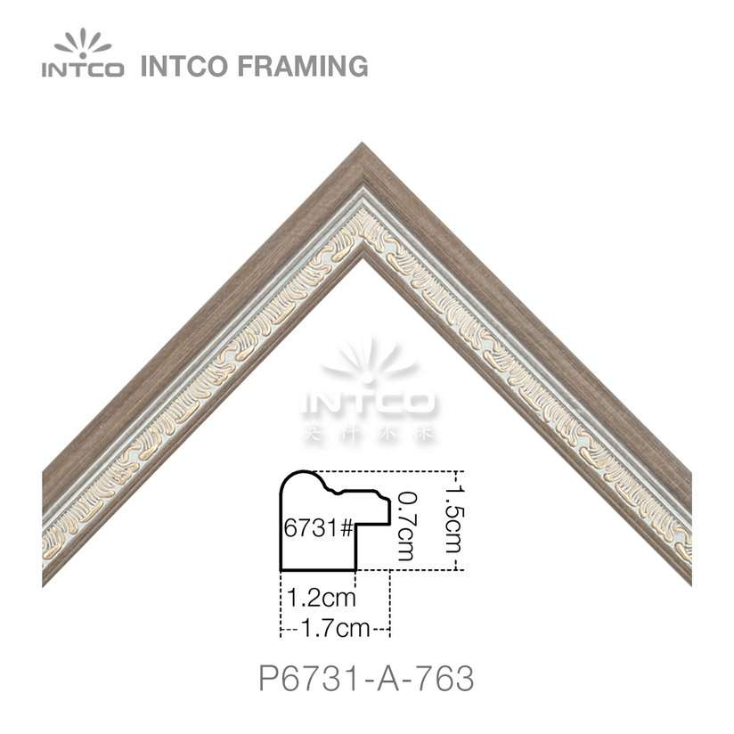P6731-A-763 PS patina photo frame moulding corner sample