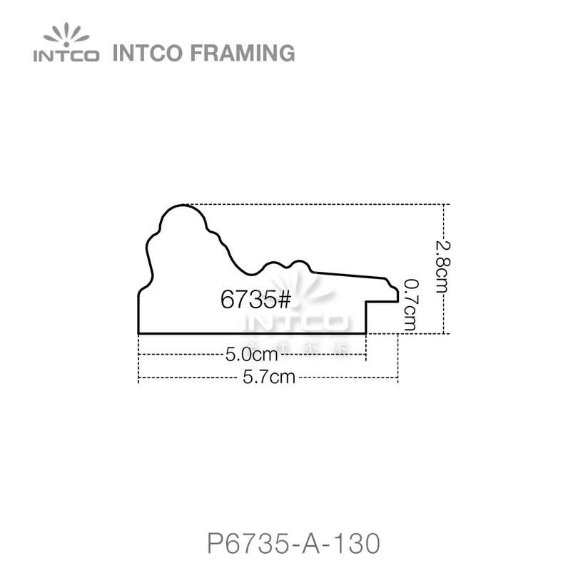 P6735 series PS patina picture frame moulding profile