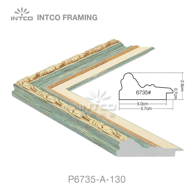 P6735-A-130 PS patina picture frame moulding drawing