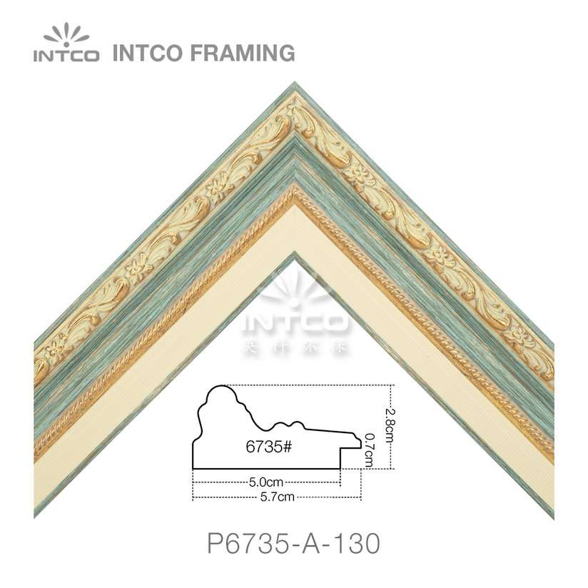 P6735-A-130 PS patina picture frame moulding corner sample