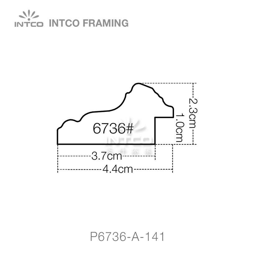 P6736 series PS patina picture frame moulding profile
