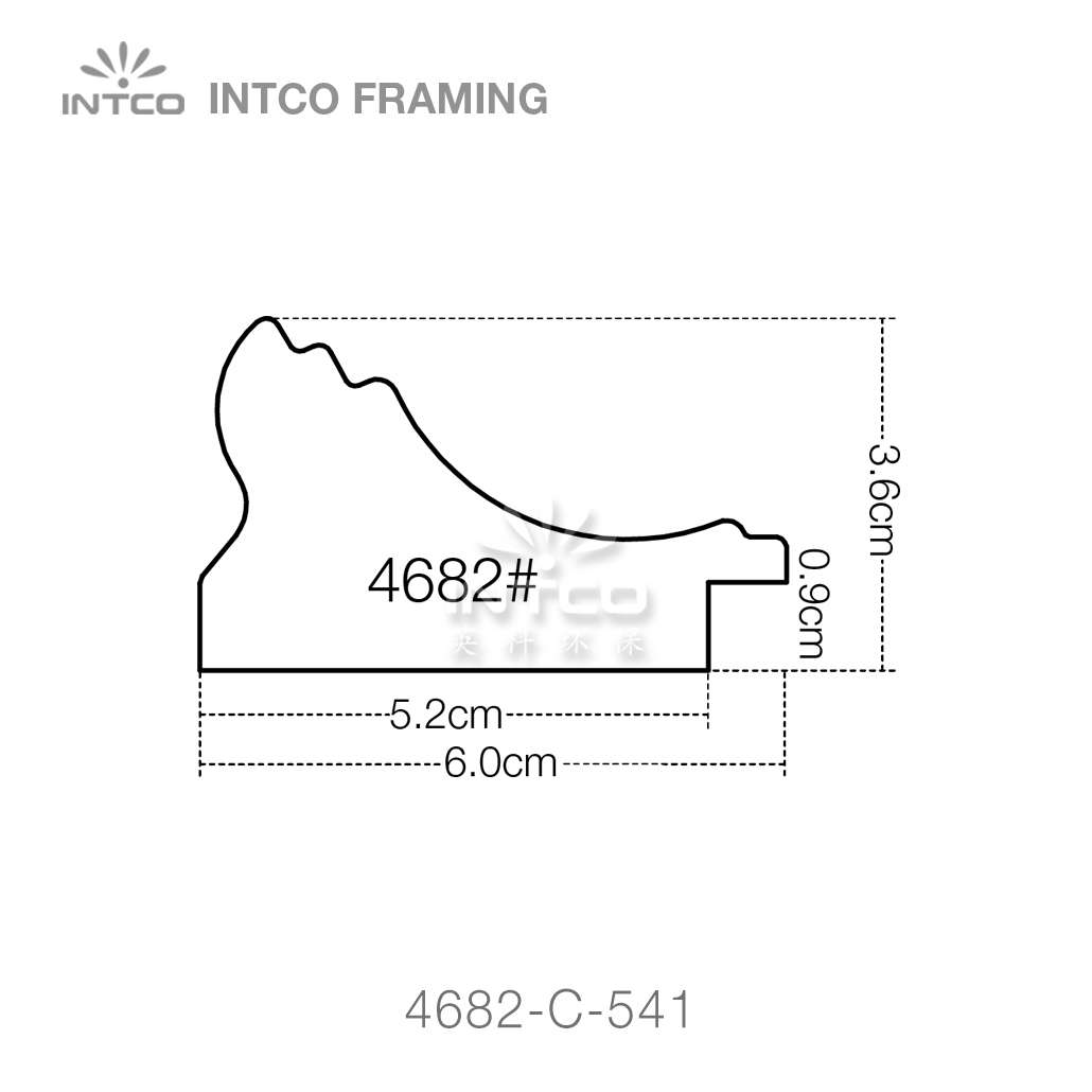 #4682 2-3/8 inch picture frame moulding profiles