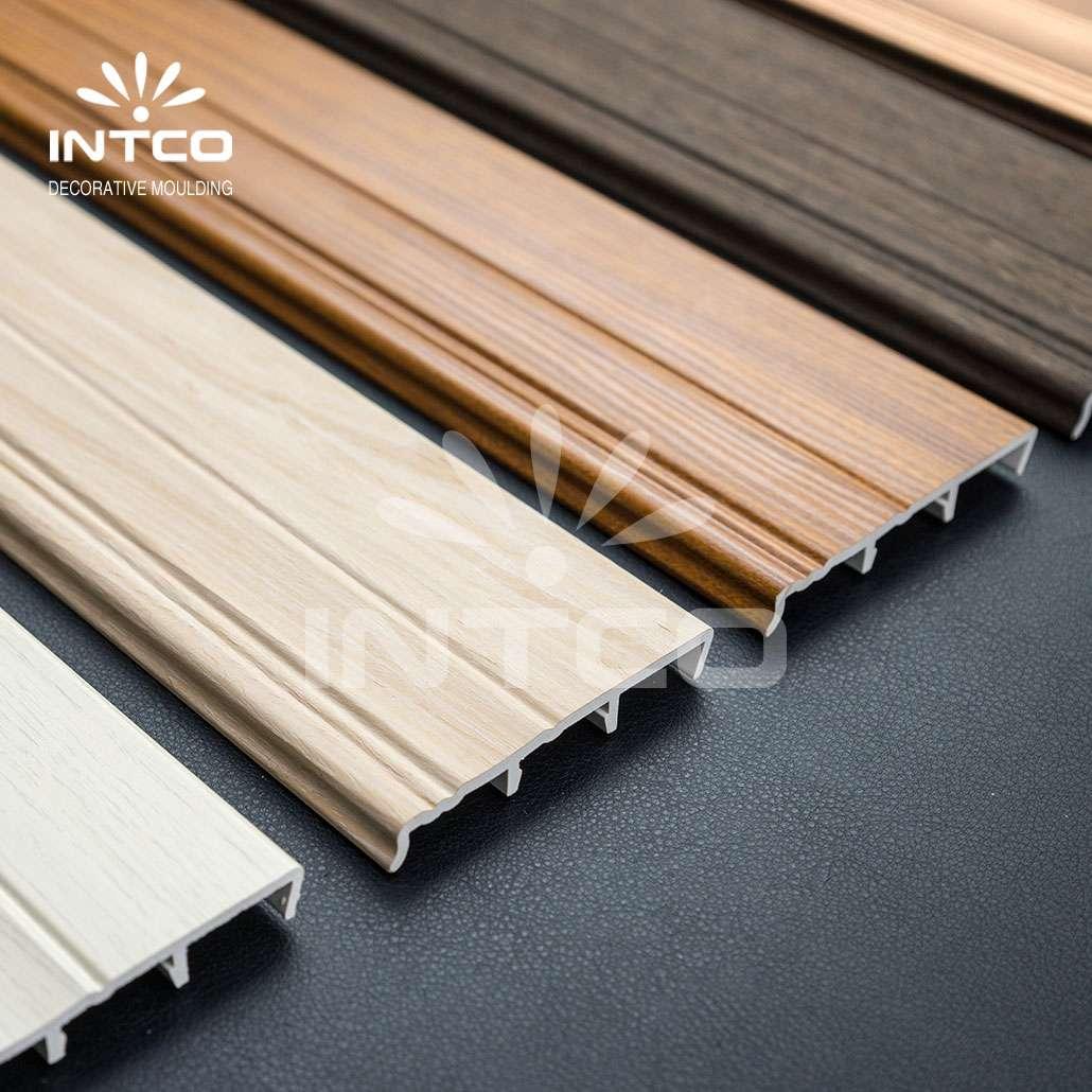 Wood-colored baseboard