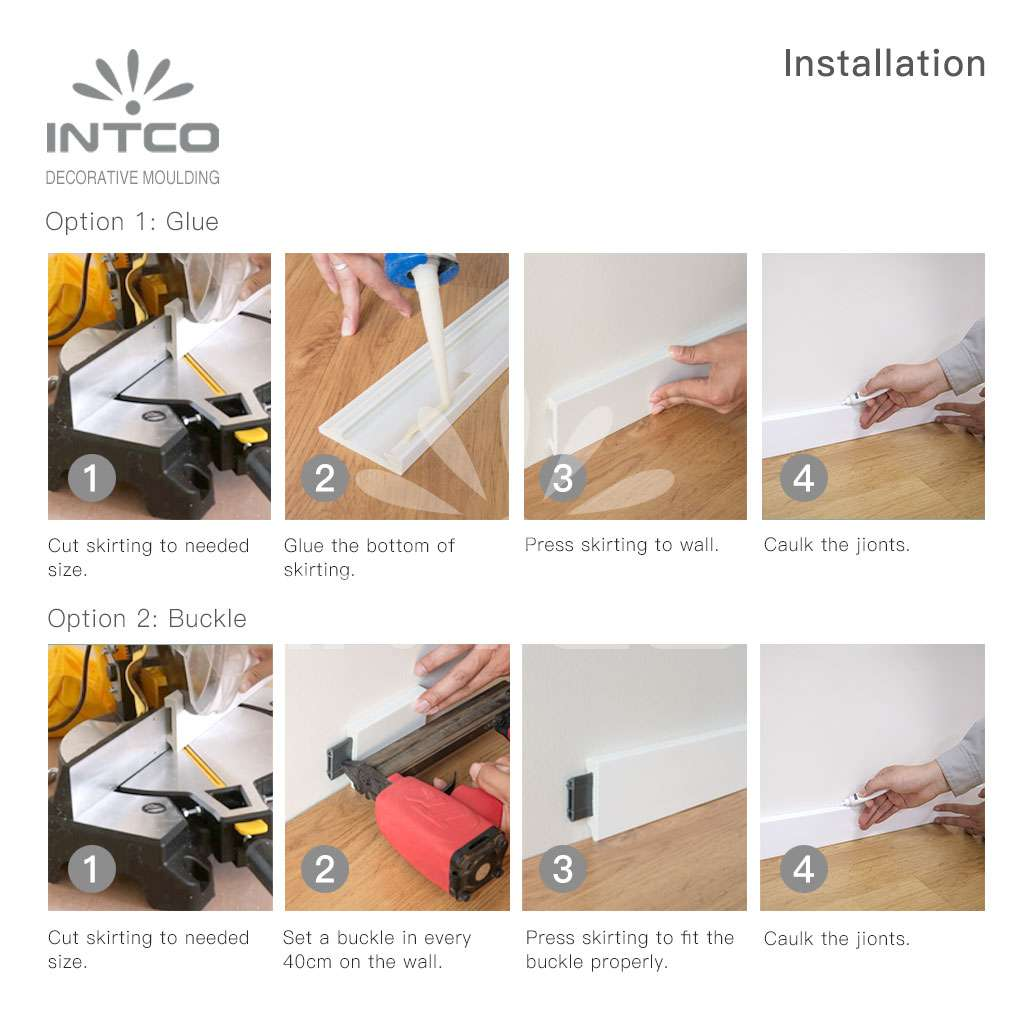 how to install plastic skirting board